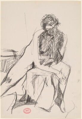 Untitled [seated female nude leaning on left arm]