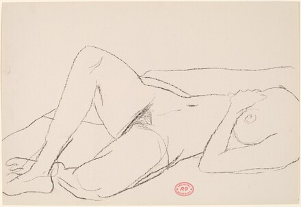 Untitled [reclining female nude seen from chest to feet]