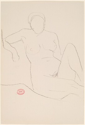 Untitled [seated female nude with right arm over support]