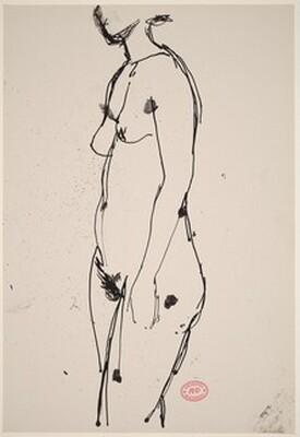 Untitled [standing female nude turned left]