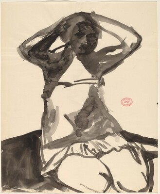 Untitled [woman sitting on knees with hands behind head]
