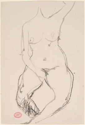 Untitled [female nude with hand in lap and raised left arm]