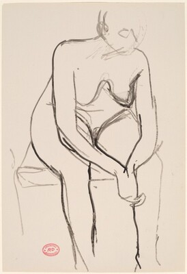 Untitled [seated nude with clasped hands leaning forward]