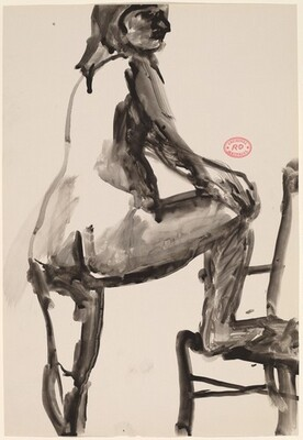 Untitled [standing female nude with right foot in chair]