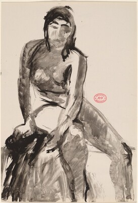 Untitled [seated female nude turned and leaning toward viewer]