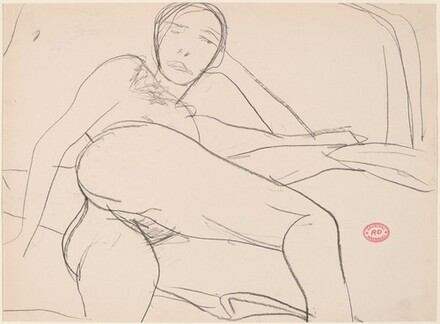 Untitled [reclining female nude turning toward viewer]