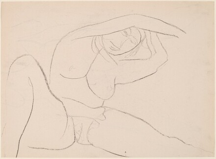 Untitled [female nude stretching while seated] [recto]