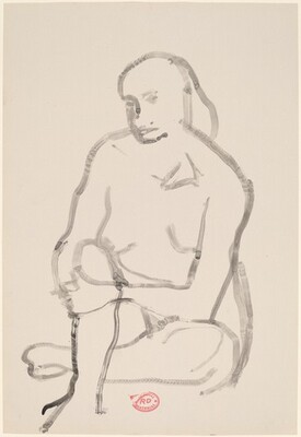 Untitled [seated female nude holding right knee]