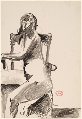 Untitled [seated female nude turned sideways in armchair]