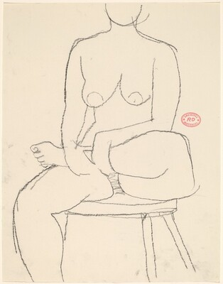Untitled [female nude seated on stool with leg crossed]