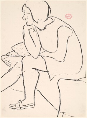 Untitled [female model seated at the edge of a bed]