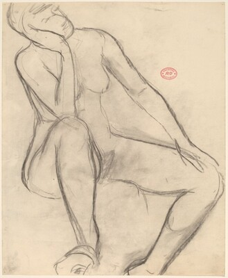 Untitled [seated female nude leaning her head on her right hand]