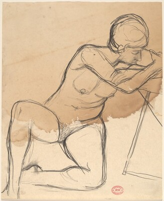 Untitled [female nude seated on floor with arms on a chair seat]