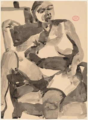 Untitled [seated female nude in stockings with right leg over chair arm]