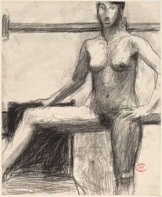 Untitled [standing female nude with right arm and leg on chair]