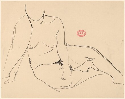 Untitled [seated female nude with right arm draped]