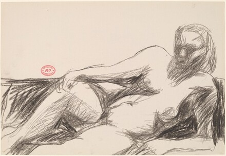 Untitled [female nude resting on her side and leaning on left arm]