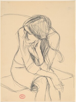 Untitled [seated woman leaning forward and turning her head]