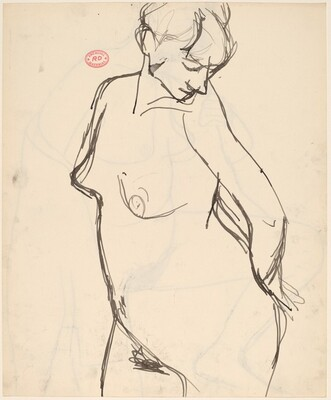 Untitled [standing nude looking over her left shoulder] [recto]