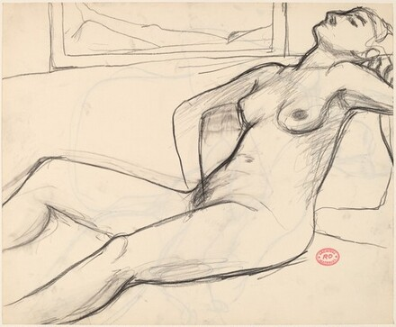 Untitled [reclining nude with her head back] [recto]