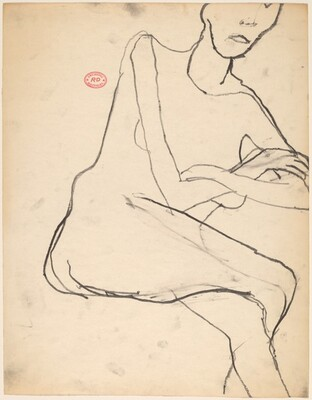Untitled [seated model with her legs and arms crossed]