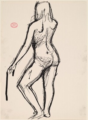 Untitled [back view of nude holding a support in her left hand]