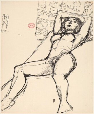 Untitled [reclining female nude before a patterned backdrop]