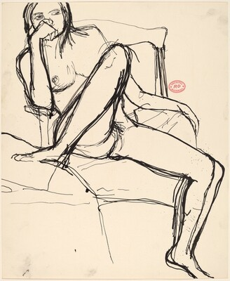 Untitled [seated nude with her right foot on a support]