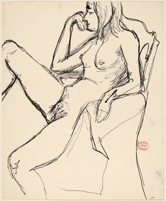 Untitled [nude in an armchair with her right leg up]