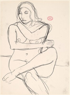Untitled [seated nude holding her shoulder]