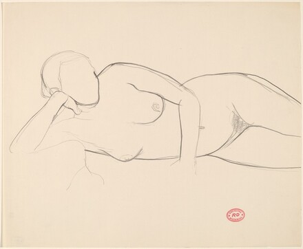 Untitled [reclining female nude resting on left arm]