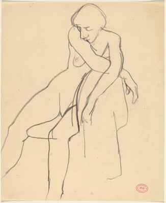 Untitled [female nude with arms crossed on chair back]