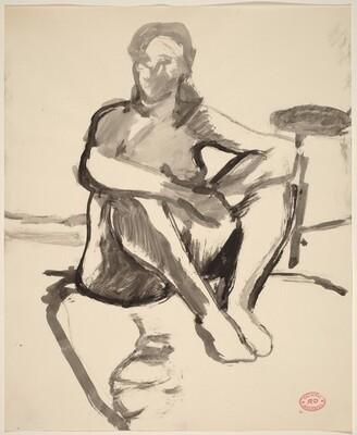 Untitled [female nude seated on floor]