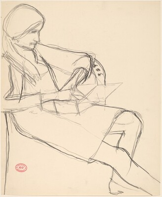 Untitled [seated woman with an open box on her lap]