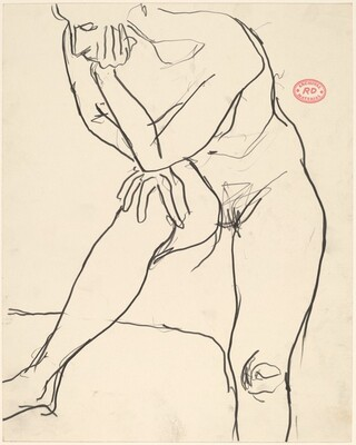 Untitled [standing nude resting her elbow on her knee]