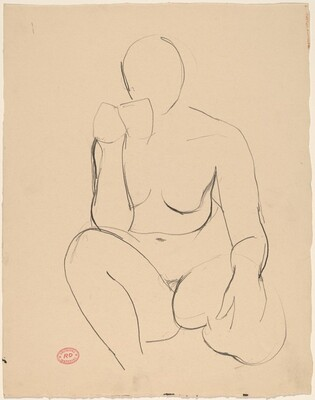 Untitled [kneeling female nude holding cup]