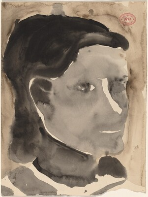 Untitled [head of a woman with dark hair]