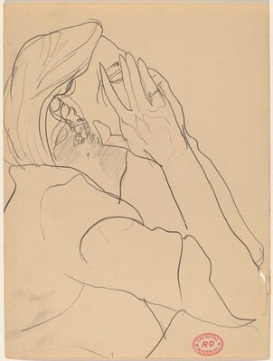 Untitled [woman covering her face with her hands]