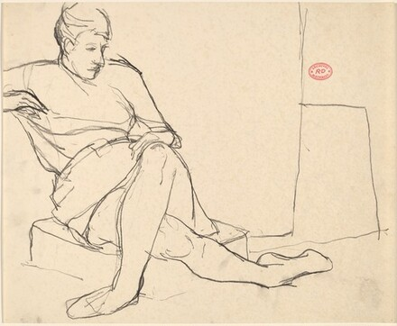 Untitled [woman seated on a cushion on the floor] [recto]