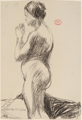 Untitled [side view of a female nude with hands clasped]