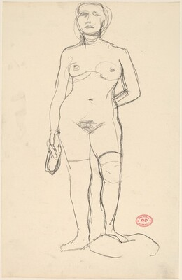 Untitled [standing female nude holding a bottle]