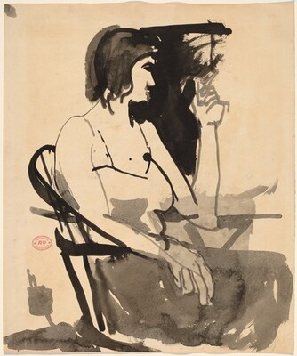Untitled [woman with cigarette seated in a Windsor chair]