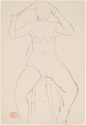 Untitled [seated nude pulling her hair]