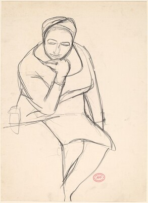 Untitled [seated woman resting her chin on her hand]