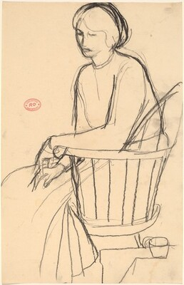 Untitled [woman in a dress seated in a Windsor chair]