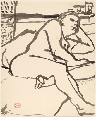 Untitled [nude reclining on her left side]