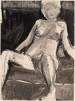 Untitled [female nude resting in a dark seat]