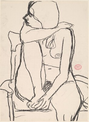 Untitled [nude in an armchair with her right foot in the seat]