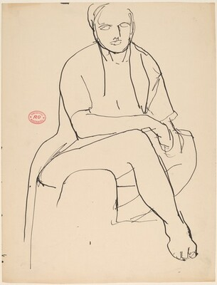 Untitled [seated female nude with right foot forward]