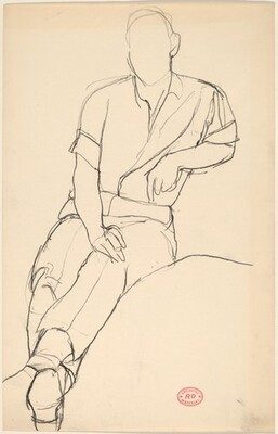 Untitled [seated man with his legs extended]